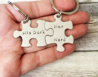 His Dork Her Nerd Keychains, Couples Keychain set, Geekery, Girlfriend Gift, Anniversary Gift, Puzzle Keychains, Gift Idea