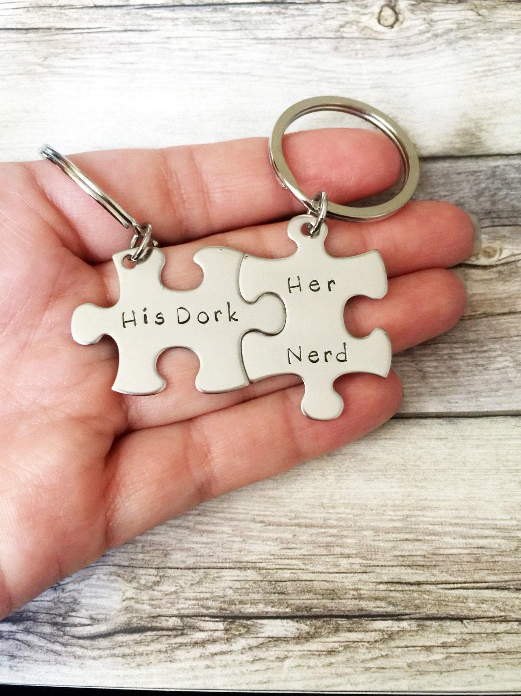 His Dork Her Nerd Keychains Couples Keychain Set Geekery