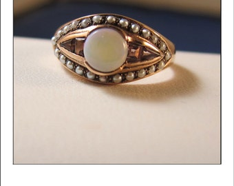Estate 9k Rose Gold Opal Pink Tourmaline and Seed Pearl Georgian Revival Ring