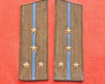 Vintage Soviet Russian Army officer uniform shoulder boards, shoulder strap.