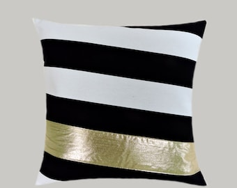 "Decorative Pillow Case, Black-White Cotton with BRIGHT Gold fabric accent 1, 16"" x 16"",  Cushion case, Toss pillow case."