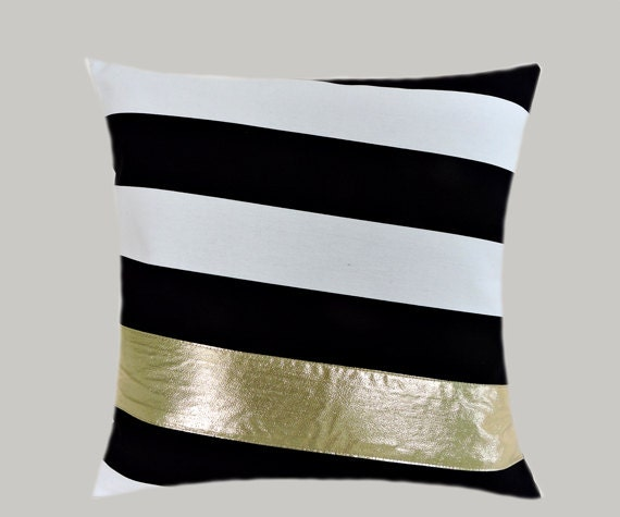 Black And White Decorative Pillow Cases : Decorative Pillow Case Black-White Cotton with BRIGHT Gold