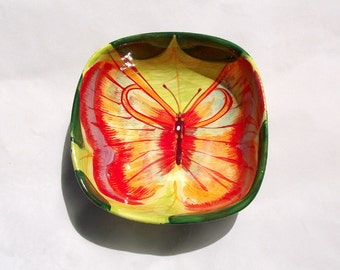 Butterfly Serving Bowl Vintage Ceramic Dish