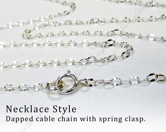 Finished 925 Sterling Silver Chain 16 18 20 22 24 30 36 42 inch Long Necklace dapped pattern