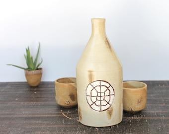 Set of 3, Ceramic Wine Bottle set, Handmade Sake Bottle set, Sake Bottle Set with Two cups, Ceramic Vase