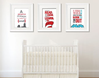 Dr. Seuss set of 3 wall art digital prints.