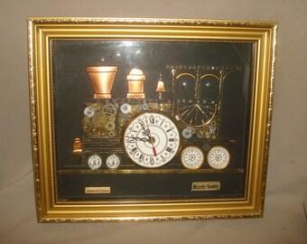 Signed Genuine Horological Clock Parts L Kersh American Dakota TRAIN ENGINE CLOCK ~ 1976 London Vintage 1970s Steampunk Collage Art