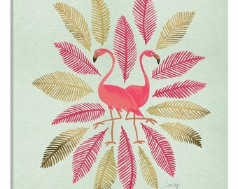iCanvas Flamingos Pink Gold Artprint Gallery Wrapped Canvas Art Print by Cat Coquillette