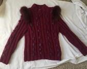 Boho fox sweater fox fur chunky hand knit cable wool 1970s design JB Original LTD sisters Beverly Kay & Judy Wakser Oak Park Illinois Ill