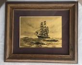 Gold foil print etching etched foil sailing ship boat clipper yacht Hollywood Regency left