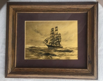 Gold foil print etching etched foil sailing ship boat clipper yacht Hollywood Regency left