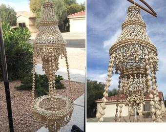 Boho shell macrame hanger 4' plant hanger sea shell chic wall hanging vintage chandelier hanging lamp Bohemian Hippie terrarium  basket