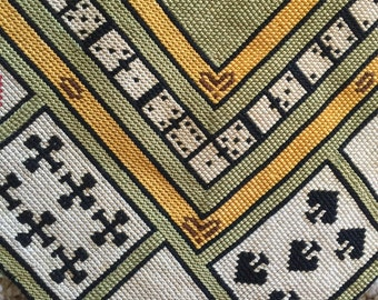 Petit Point tapestry embroidery vintage card gambling tablecloth runner piano scarf wall hanging silk dice cards poker Monte Carlo Las Vegas