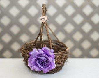 Purple Rose Twig round personalized wedding small rustic flower girl basket. Customize with flower and initials