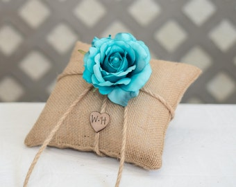 Turquoise Rose T ring bearer pillow. Customize with flower and bride and groom initials