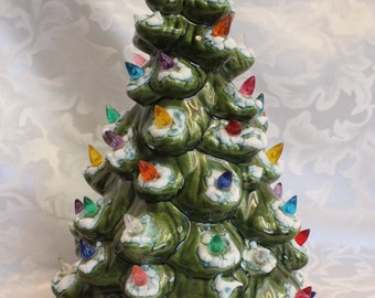 Vintage Ceramic Christmas Tree - Lighted Base