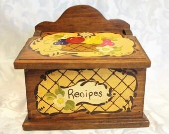 Vintage Hand Painted Wood Recipe Box