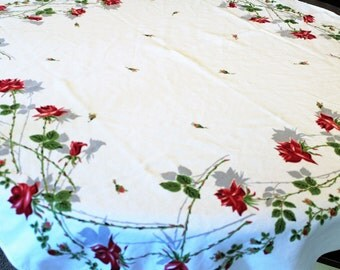 Vintage Cotton Tablecloth Red Roses