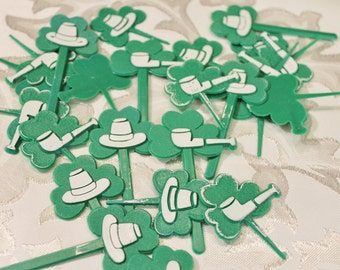 Vintage Cupcake Picks - Irish - St. Patrick's Day Decor