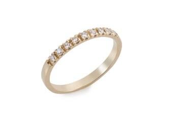 14k Gold Diamonds Ring - White Diamonds Ring - Solid Gold Engagement Ring - White Diamonds Band - Multistone Engagement Ring - Promise Ring