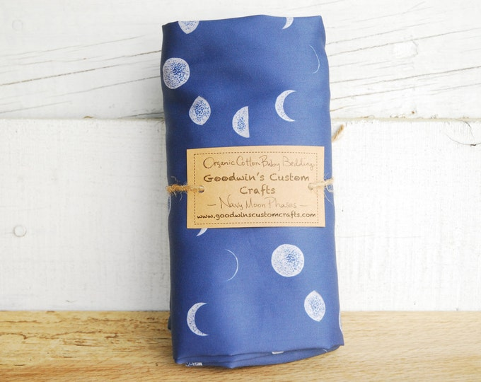 Organic Baby Bedding, Crib Sheet, Changing Pad Cover - Navy Moon Phase Silhouette