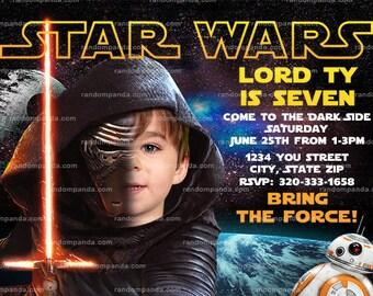 Personalize Star Wars Invitation, Kylo Ren Party, Force Awakens Birthday Invite