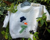 Christmas Jumper, BABY KNITTING PATTERN in pdf, Snowman Jumper, Baby and Toddler Sizes, Instant Download, Christmas Sweater, Snowman Sweater