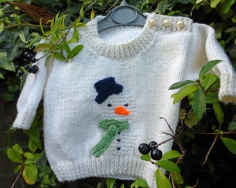 BABY KNITTING PATTERN in pdf - Snowman Christmas Jumper for Babies and Toddlers