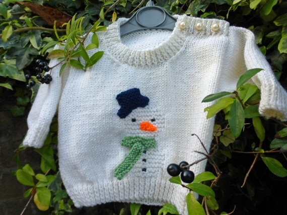 Knitting Patterns For Babies Jumpers : BABY KNITTING PATTERN in pdf Snowman Christmas Jumper for