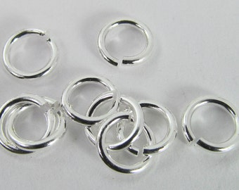 20 Silver-Plated 6mm Open Iron Jump Rings Mt289