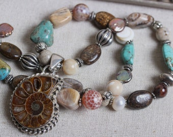 Southwestern Semi-Precious Stone Beaded Necklace with Ammonite & Sterling Silver Fancy Pendant