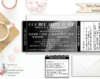1920s Style Hollywood Movie Invitation and Perforated RSVP