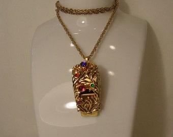 Large Jeweled Whistle Pendant Necklace