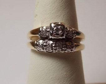 Vintage Diamond Bridal Set .10Ctw YG/WG 14K 5.1grams Size 5.5