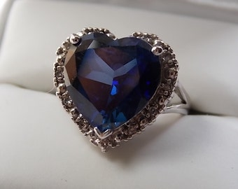 RESERVED C - Heart Shaped Sapphire and Diamond Halo Ring 7.24Ctw White Gold 14K 7.6gm Size 8 Statement Ring