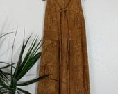 1960s 70s Embossed Suede Leather Duster Vest Boho Hippie Hanger Robe Tan Small Medium