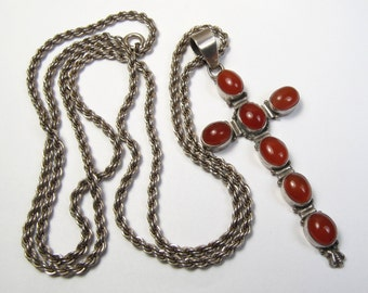 Vintage Sterling Silver Huge Carnelian Cross Pendant Rope Chain Necklace 30""