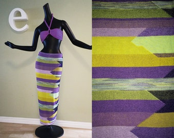 Gorgeous Genuine Missoni Maxi Pencil Skirt Sophisticated Southwest Navajo Indian Pattern Purple Chartreuse Green Strapless Tube Column Dress