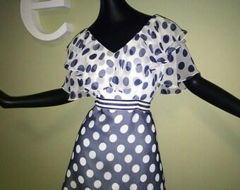 Large Rockabilly Pin Up Dress 50s 60s Navy Blue Polka Dot Vintage Sheer Polkadot Dotted Nautical Dress w/ Ruffle Flutter Sleeves & Neckline