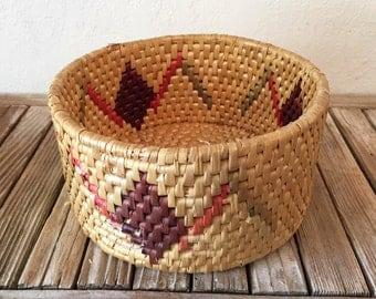 Vintage Woven Basket Indian Print