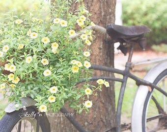 Bike Photography- Summer Photograph, Bike and Flower Basket Print, Vintage Bicycle Photo, Yellow Flowers Print, Bicycle and Flowers Photo