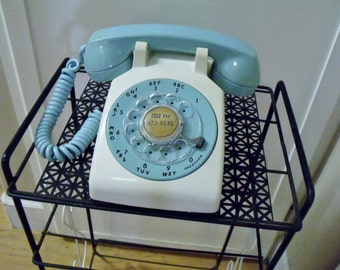 Vintage 1960s Rotary Phone Turquoise / Aqua Blue Desk Top Western Electric