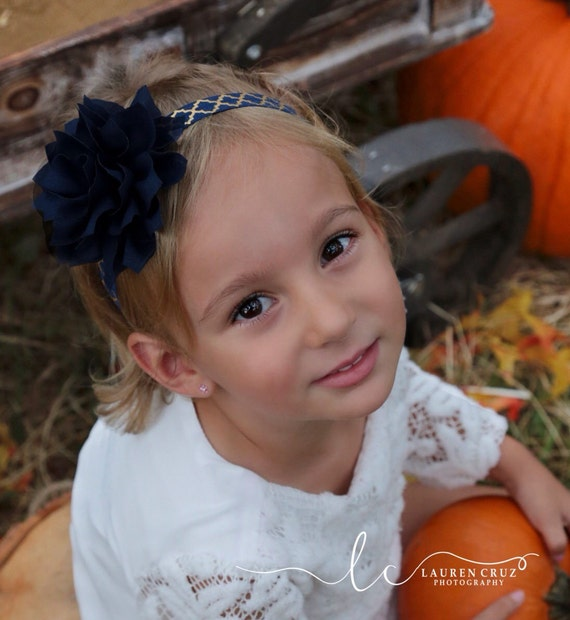 Navy 4 inch Flower Headband on Navy with Gold Foil Elastic, for all ages including newborns and toddlers, by Lil Miss Sweet Pea