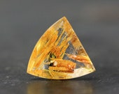 Gold Star Rutilated Quartz Natural Brazilian Gemstone with Hematite Precious Stones for Jewelry Beading Collectors - Golden Hair Rutile Gem