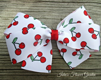 Red cherries hair bow, White cherry hairbow