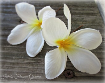 Plumeria hair flower, realistic, tropical hair flower, creamy white