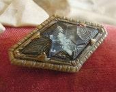 Vintage Antique Victorian Brass / Copper Pin /  Edwardian Brooch / Gold Tone Brass Metal Rhinestones / C Clasp Closure / Blue Stone