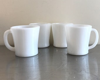 White Milk Glass Coffee Mugs, set of 4