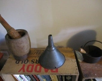 Galvanized Funnel DOVER. Rustic Funnel. Primitive Funnel Light Shade. Country Cottage Funnel