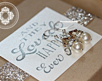 Drop Pearl Bridal Earrings,Swarovski, bridal party Earrings, Personalized gift, wedding Jewellery,bridesmaids gifts, by JewlesDesigns